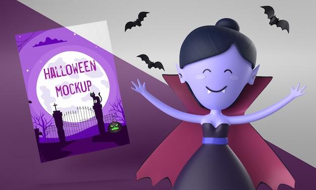 Maquete de cartão de halloween com mulher vampira sorridente