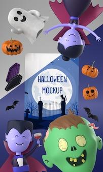 Maquete de cartão de halloween com personagens assustadores