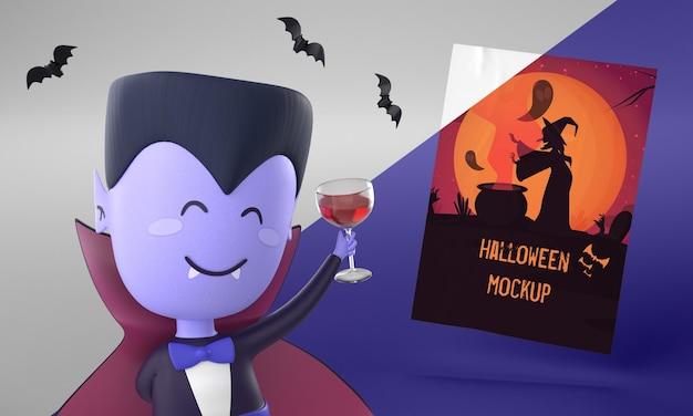 Maquete de cartão de halloween com vampiro sorridente