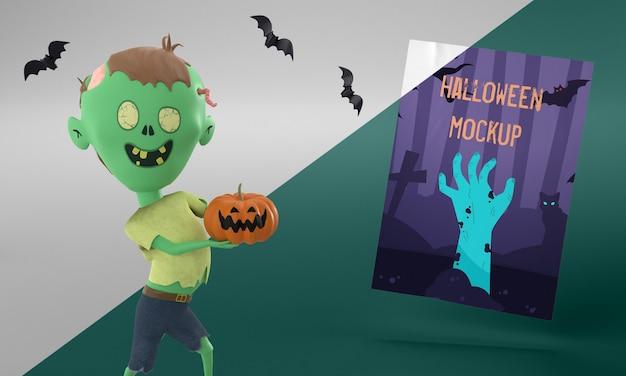 Maquete de cartão de halloween com zumbi segurando uma abóbora