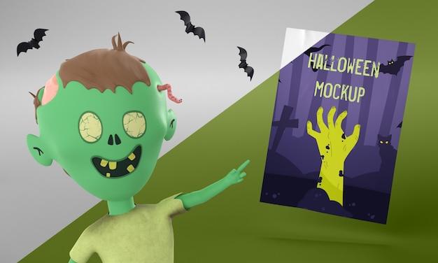 Maquete de cartão de halloween com zumbi