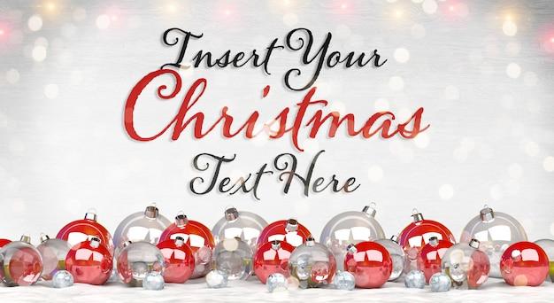 Maquete de cartão de natal com enfeites de texto e vermelho na neve