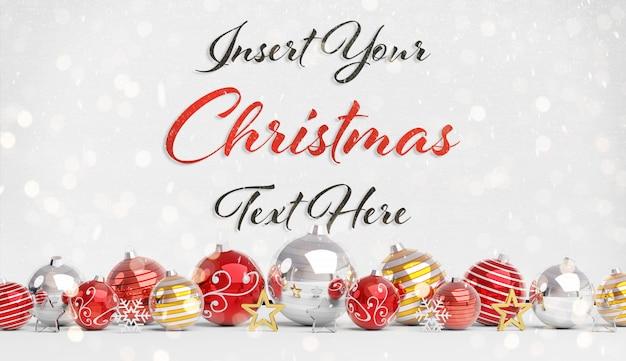 Maquete de cartão de natal com enfeites de texto e vermelho