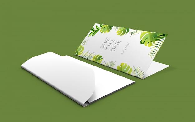 Maquete de cartão de natureza de casamento