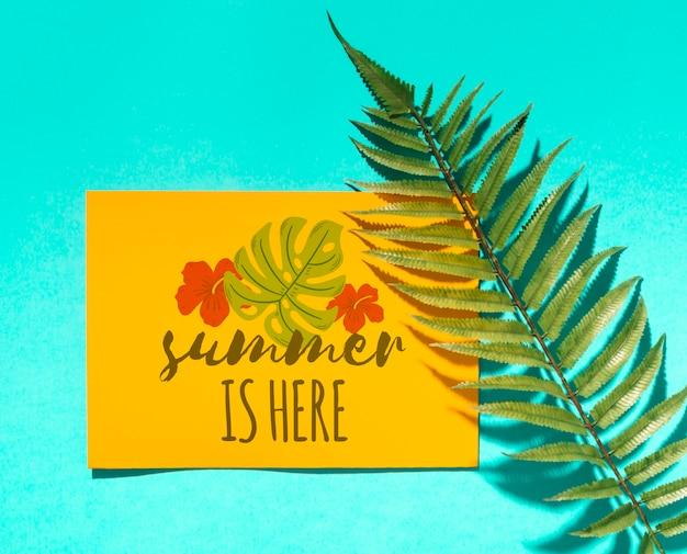 Maquete de cartão de papel plana leigo com elementos de verão