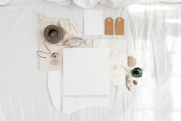 Maquete de cartão de papelaria plana boho