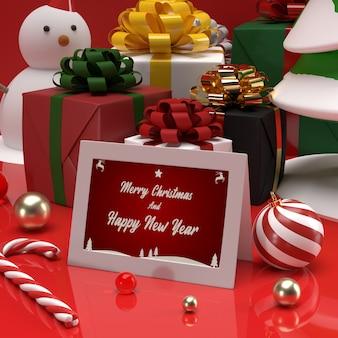 Maquete de cartão de presente de convite de celebração de natal e ano novo com boneco de neve e presente