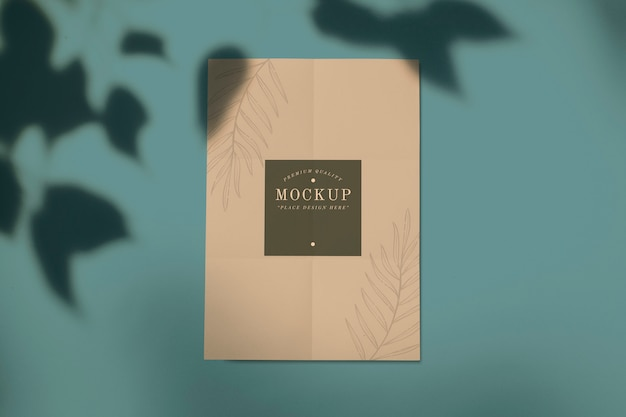 Maquete de cartão de qualidade premium com um design de folha