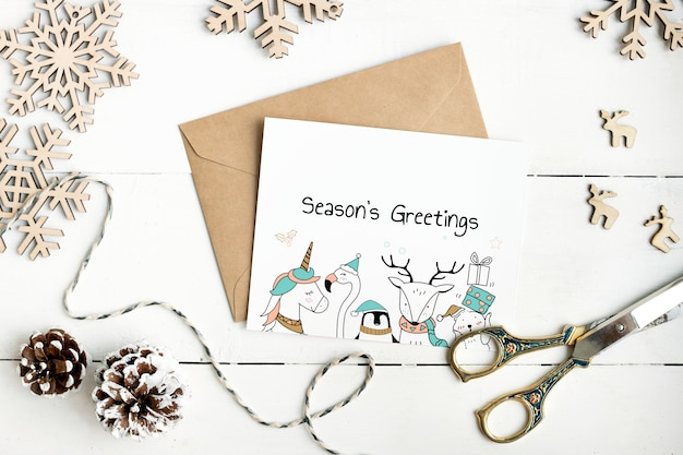 Maquete de cartão de saudações de temporadas bonito