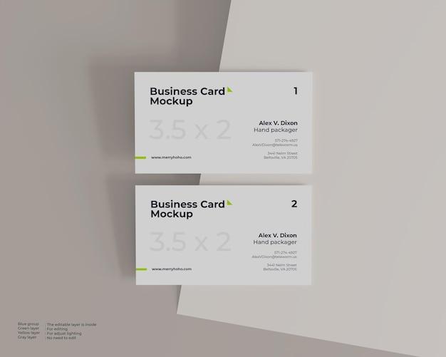 Maquete de cartão de visita branco minimalista, frente e verso com vista superior