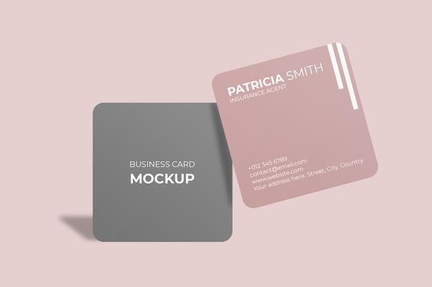Maquete de cartão de visita com canto arredondado quadrado