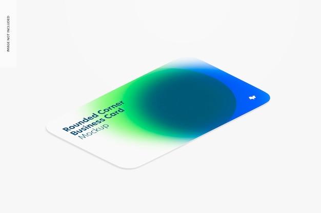 Maquete de cartão de visita com canto arredondado, vista esquerda isométrica
