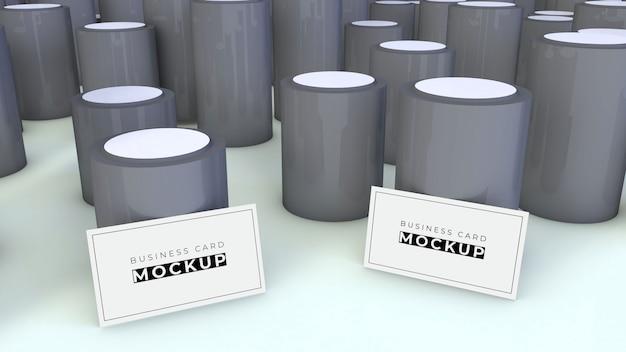 Maquete de cartão de visita com cilindros cinza