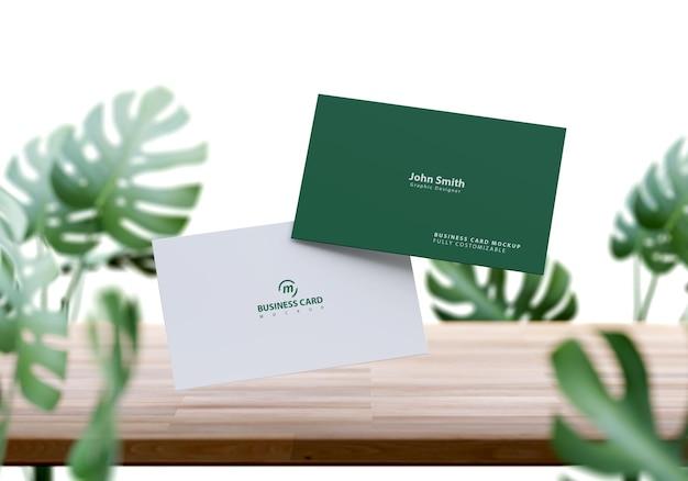 Maquete de cartão de visita com desenho de folhagem