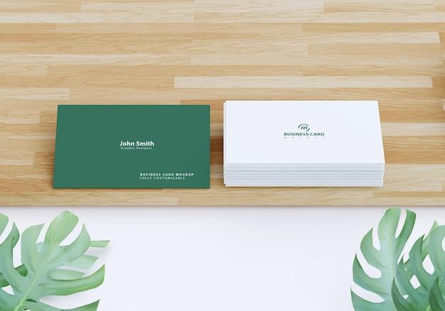 Maquete de cartão de visita com desenho de folhagem Psd Premium