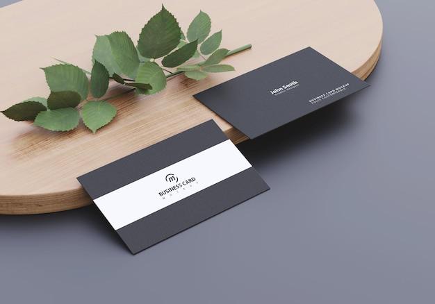 Maquete de cartão de visita com design natural