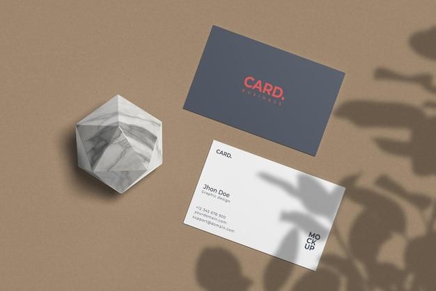 Maquete de cartão de visita com mármore