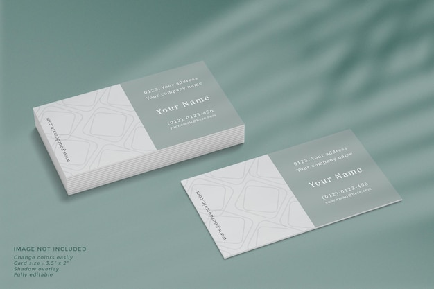 Maquete de cartão de visita com sobreposição de sombra em alto ângulo