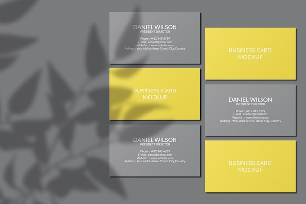 Maquete de cartão de visita com sobreposição de sombra