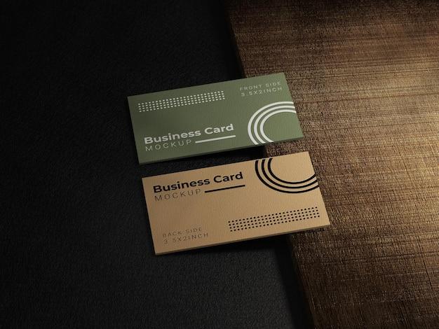 Maquete de cartão de visita com textura de madeira