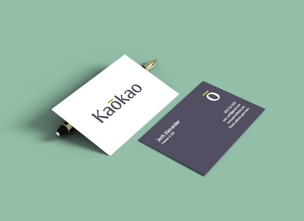 Maquete de cartão de visita com uma caneta