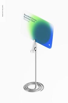 Maquete de cartão de visita de canto arredondado, vista isométrica