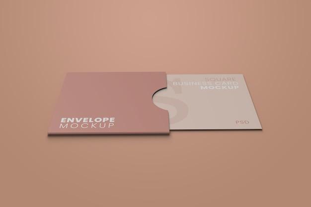 Maquete de cartão de visita de envelope quadrado