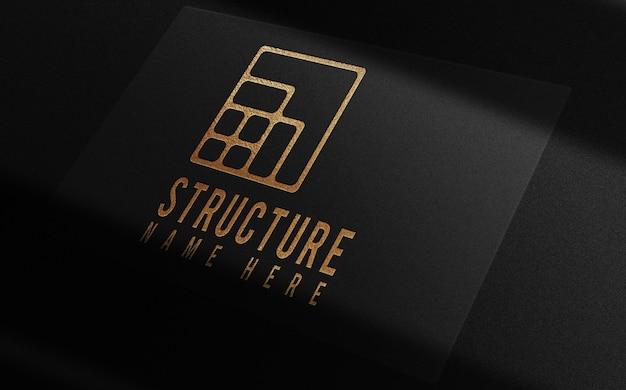 Maquete de cartão de visita de luxo com relevo único em ouro