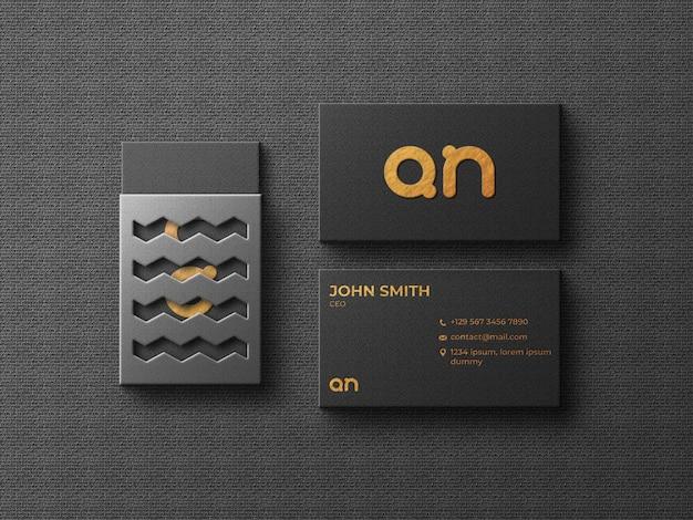 Maquete de cartão de visita de luxo com vista superior da caixa de cartão