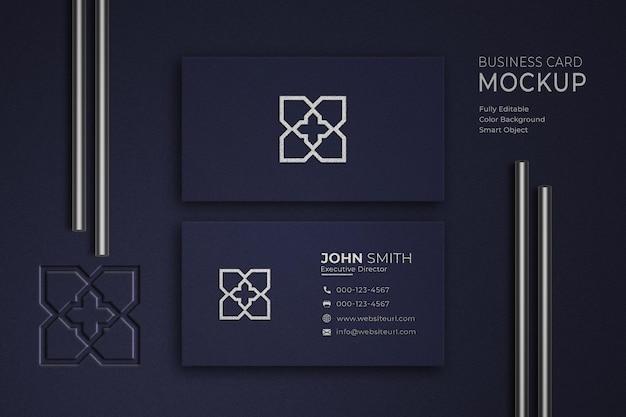 Maquete de cartão de visita de luxo em azul e branco