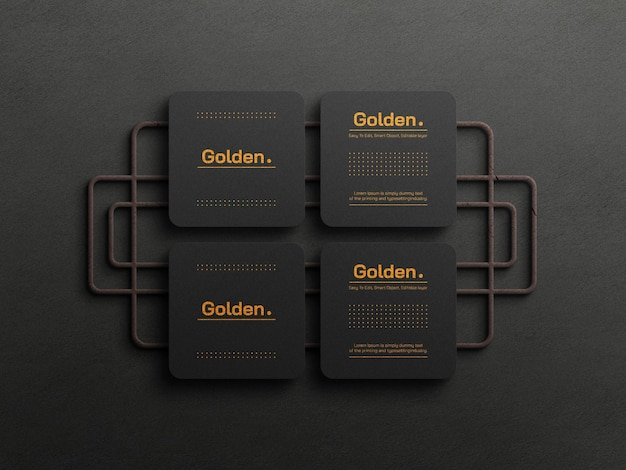 Maquete de cartão de visita de luxo em folha de ouro