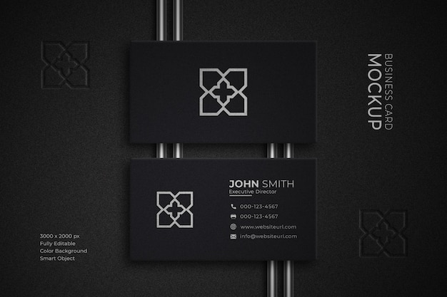 Maquete de cartão de visita de luxo em preto e branco