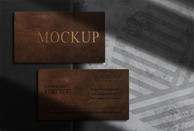 Maquete de cartão de visita de luxo em relevo com vista superior