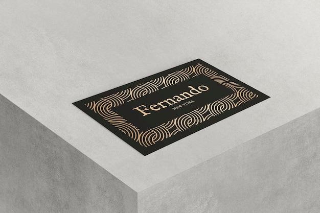 Maquete de cartão de visita de luxo em tons de preto e dourado