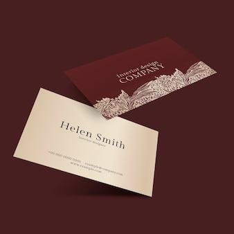 Maquete de cartão de visita de luxo psd em tons de vermelho e dourado com vista frontal e traseira