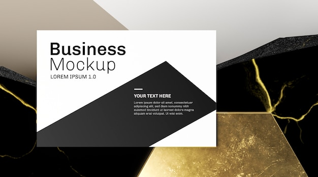 Maquete de cartão de visita e mármore dourado