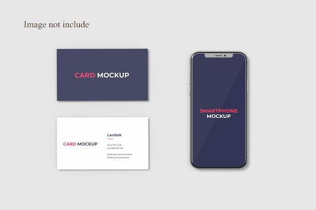 Maquete de cartão de visita e smartphone