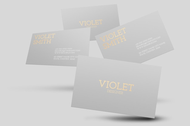 Maquete de cartão de visita em cinza com vista frontal e traseira