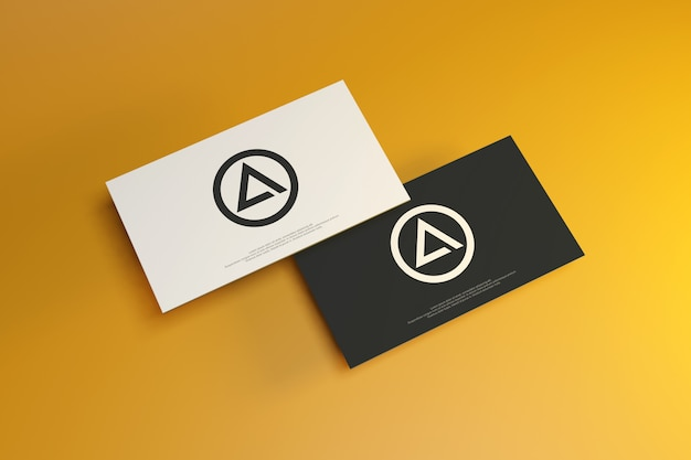 Maquete de cartão de visita em fundo amarelo