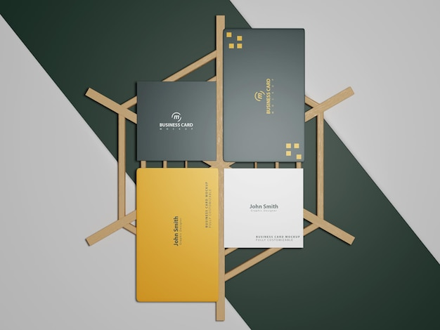 Maquete de cartão de visita em madeira