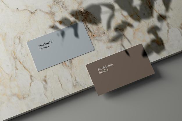 Maquete de cartão de visita em pedra de mármore