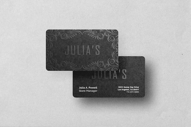 Maquete de cartão de visita em relevo