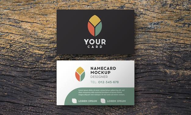 Maquete de cartão de visita em textura de madeira vintage