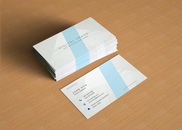 Maquete de cartão de visita empilhada