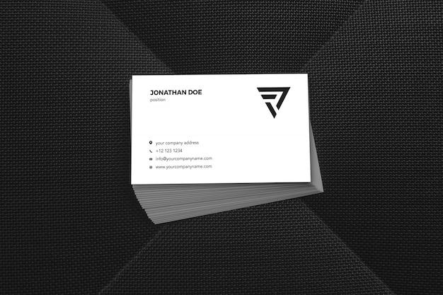 Maquete de cartão de visita empilhado preto