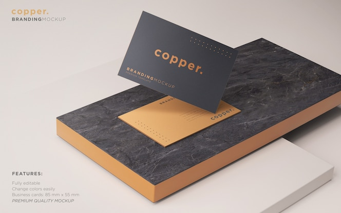 Maquete de cartão de visita escuro e cobre psd