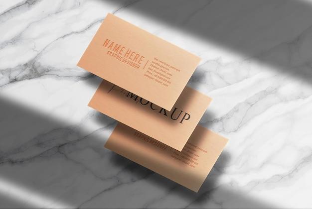 Maquete de cartão de visita flutuante em alto-relevo de luxo