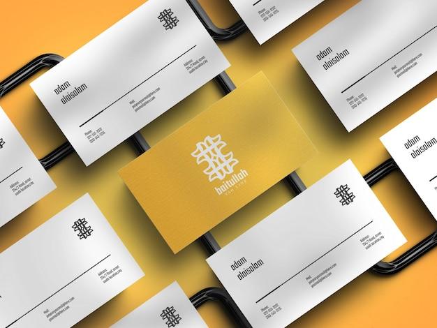 Maquete de cartão de visita horizontal elegante em renderização 3d realista com sombra excessiva