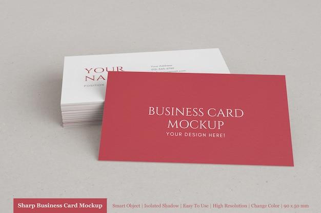 Maquete de cartão de visita horizontal empilhado realista de 90x50mm com papel texturizado