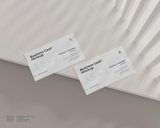 Maquete de cartão de visita lado a lado